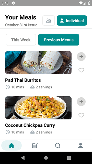 New Menus each week on the Meal Mentor App